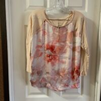 Jennifer Lopez Women's Pink/Cream Floral 3/4 Sleeve Blouse size L