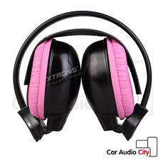 Wireless IR Infrared Car Stereo Pink Headphones Headsets Child Kid Dual Channels