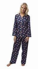 8a0176b94c Ladies Satin Pyjama Set Plus Size Silky PJs Pajama Lounge Long Sleeve 20  Blue