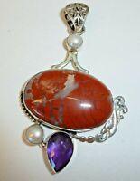 "FINE Vintage Genuine Pearl Agate Amethyst Solid Sterling Silver 2-1/2"" Pendant"