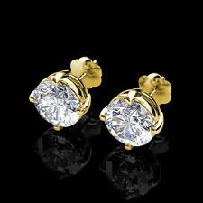 2CT Forever Brilliant Moissanite Stud Earrings Screw Back 14k Yellow Gold 6.50MM
