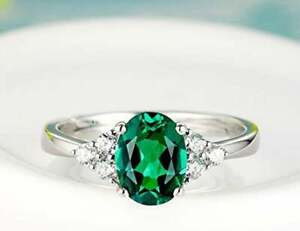 Natural Certified Green Emerald Gemstone Sterling Silver Wedding Ring For Her