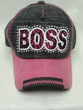 Women's Vintage Baseball Hat Boss Cap w Rhinestones Pink & Black Adjustable