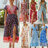 Women Dress Short Sleeve V Neck Side Split Long Maxi Dress Summer Beach Party