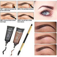 2pcs Black Brown Waterproof Tint Eyebrow Henna With Mascara Eyebrows Paint Brush