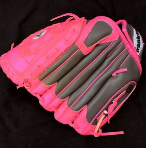 """GIRL'S GRAPHITE & HOT PINK 10.5"""" FRANKLIN TEE BALL GLOVE- READY TO PLAY"""