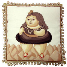 "18"" x 18"" Handmade Wool Needlepoint Fernando Botero ""Lady"" Pillow with Tassels"