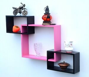 Indian Designer Black Pink Color Intersecting Wall Shelve A Set Of 3 Pcs