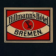 Hillmann's Hotel BREMEN Germany / Key * Old Luggage Label Kofferaufkleber
