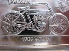 1.4-OZ.999  SILVER 1909 1ST V TWIN HARLEY DAVIDSON 90TH ANNIVERSY BAR INGOT+GOLD