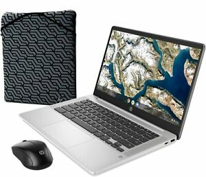 """NEW HP chromebook 14a-na0023cl 14"""" celeron 1080p 4GB 64GB with mouse and sleeve"""