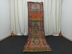 """Berber Old Vintage Handmade Moroccan Rug 2'6""""x 9'8"""" feet Tribal Floral Wool Rug"""
