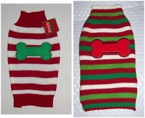Stripe Dog Sweater with Bone Sz XS Christmas Red White Green Striped