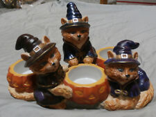 Halloween Partylite Abracadandle Tea Candle Trio Cats In Witch Costume Pumpkins