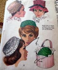 "LOVELY VTG 1960s SMOCKED HATS Sewing Pattern 21.5-22.5"""