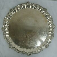 """Birmingham Silver Co Round Silverplate Large Serving Tray Chased Scroll 21-1/4"""""""