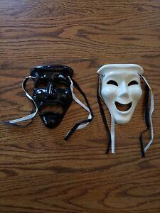 Set of two New Orleans Brinda Ceramic Mardi Gras Face Masks