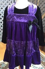 Girls VELOUR TWIRLY DRESS GREGGY GIRL Purple & Black Stretchy Tiered Tunic Top 4