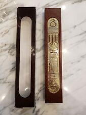 BRAND NEW IN BOX Judaica Wood and Gold 24k Plated Mezuza Mezuzah