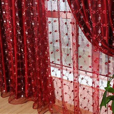 EE_ FASHION TULLE WINDOW CURTAIN FOR LIVING ROOM EMBROIDERY SHEER DECORATION ORN