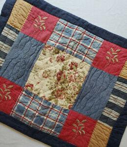 "Vtg Patchwork Pillow Sham Springs Standard Sz Floral Blue Plaid Embroidered ~26"""