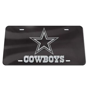 DALLAS COWBOYS BLACK AND SILVER CRYSTAL MIRRORED CAR LICENSE PLATE