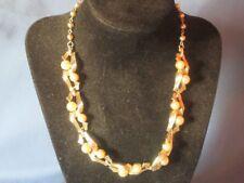 Vintage Signed LISNER Gold-Tone Metal Faux Pearl Necklace