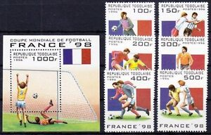 Togo 1996 Mi. 2389-94, Bl. 392 ** MNH Fussball WM Frankreich 1998 Football
