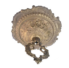 "NEW 5-1/2"" SOLID UNF CAST BRASS FANCY ORNATE CEILING CANOPY & LOOP - OLD STOCK"