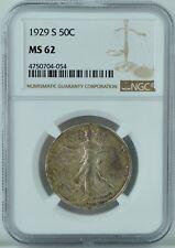 MS62 1929 S Walking Liberty US Silver Half Dollar Graded NGC MS 62 Mint 90%