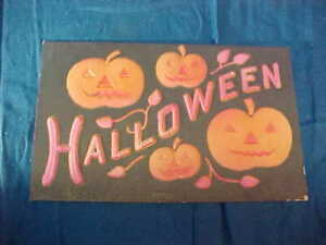 Early 20thc HALLOWEEN POSTCARD with 4 Embossed JACK O LANTERNS