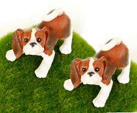 2 pcs Beagle Dog Brown Lifelike Miniature Figurine Fairy Garden Dollhouse Decor