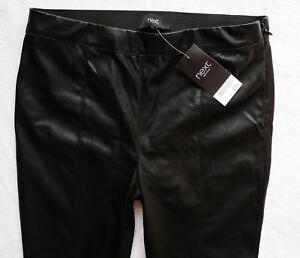 BNWT NEXT Leather look biker stretch jeggings leggings black ankle zips