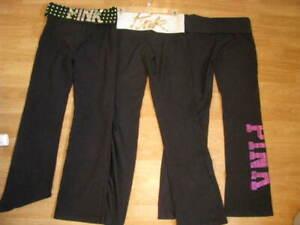 Womens Victoria's Secret PINK Black w/Bling Lot of 3 Yoga Pants Flare Leggings S