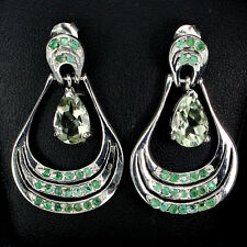 RARE!Natural Top Nice Green Amethyst,Emerald 925 Sterling Silver DANGLE Earrings