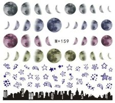 Nail Art Stickers Water Decals Transfers Moons Stars City At Night (M+159)