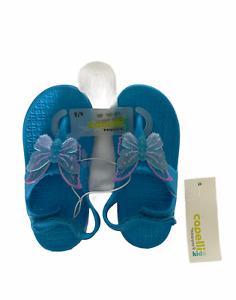 Capelli New York Kids Toddler Girls Blue Butterfly Flip Flops Size 8/9