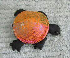"Small 2"" vintage 1990's heavy bean bag orange gold black old turtle toy Free S/H"