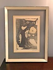 Jacques Schedler Cats Modernist Etching 1955 Signed Mid Century Framing 15X20