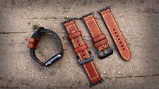 Cinturino OROLOGIO IN PELLE MARRONE BAND PER Apple Watch SERIE 1 2 & 3 42 MM nero elementi di fissaggio