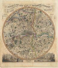London environs Pigot réplique carte imprimer 14 miles autour de St. Pauls c1840