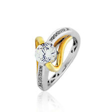 Silver Gold Plated 1.25 Cz Cts Engagement Wedding Ring Yellow & White Sterling