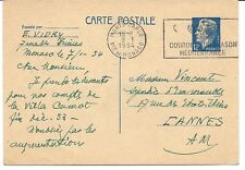 MONACO. Carte postale 12F bleu clair Rainier III. Oblit