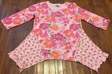 Naartjie Kids Girls XL 7 Years Pink Tunic Top Floral Handkerchief Hem 3/4 Sleeve
