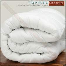 Microfibre Mattress Topper Box-Stich Non Deep Bed Enhancer All Sizes in 300g