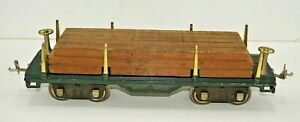 LIONEL LINES PREWAR NO. 511 STANDARD GAUGE FLAT CAR WITH ORIGINAL LUMBER LOAD