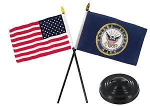 "Navy Emblem w/ USA America American Flag 4""x6"" Desk Set Table Stick Black Base"