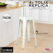 4 x Replica New Tolix Bar Stool Xavier Metal Steel Home Cafe/Pub, White, 76cm