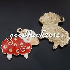 50619 Antique Gold Alloy Enamel Mutton Sheep Pendants Charms Crafts Findings 8x