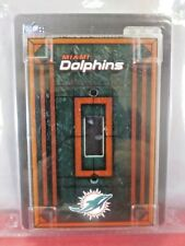 NEW  NFL MIAMI DOLPHINS  Hand Painted!! Art Glass Single  Switch Plate Cover